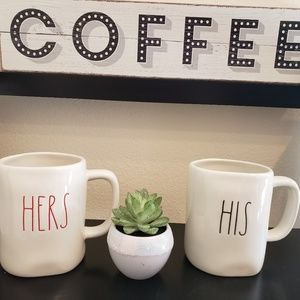 Rae Dunn HIS HERS Mug Set Red Black